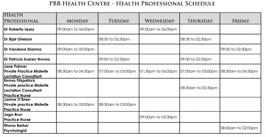 health professionals schedule at the PBB Health Centre